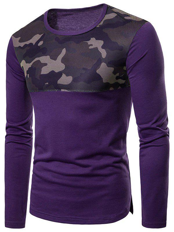 Camouflage Mesh Patchwork Casual T-shirt - PURPLE XL