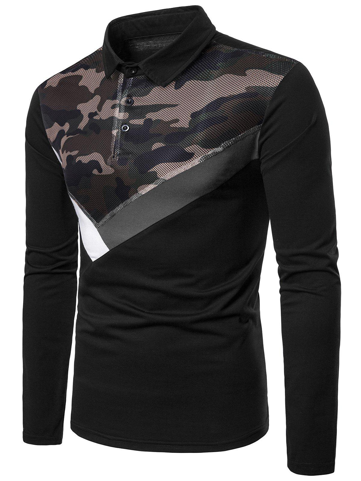 Mesh Camo Fabric Stripes Patchwork Long Sleeve Polo Shirt - BLACK XL
