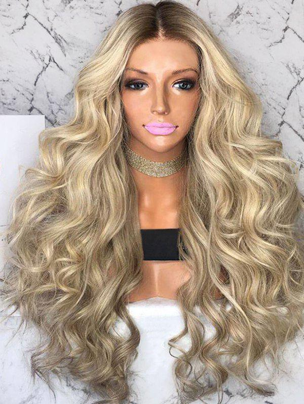 Middle Part Colormix Long Loose Wave Synthetic Wig - multicolor