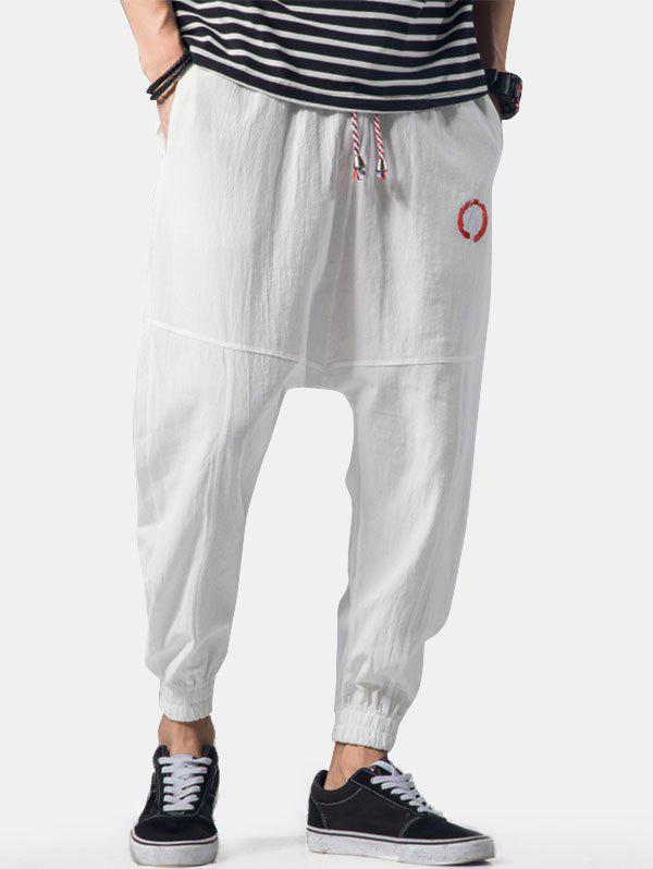 Graphic Embroidery Detail Applique Flatlock Seams Jogger Pants - WHITE XL