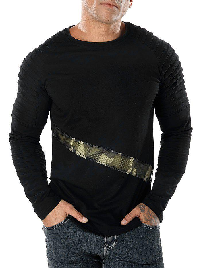 Camo Splicing Sleeve Pleated Design T-shirt - BLACK L
