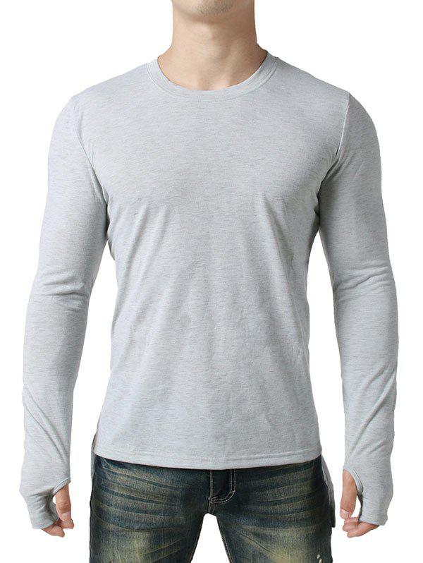 Glove Design Front Short Back Long Tee - LIGHT GRAY L