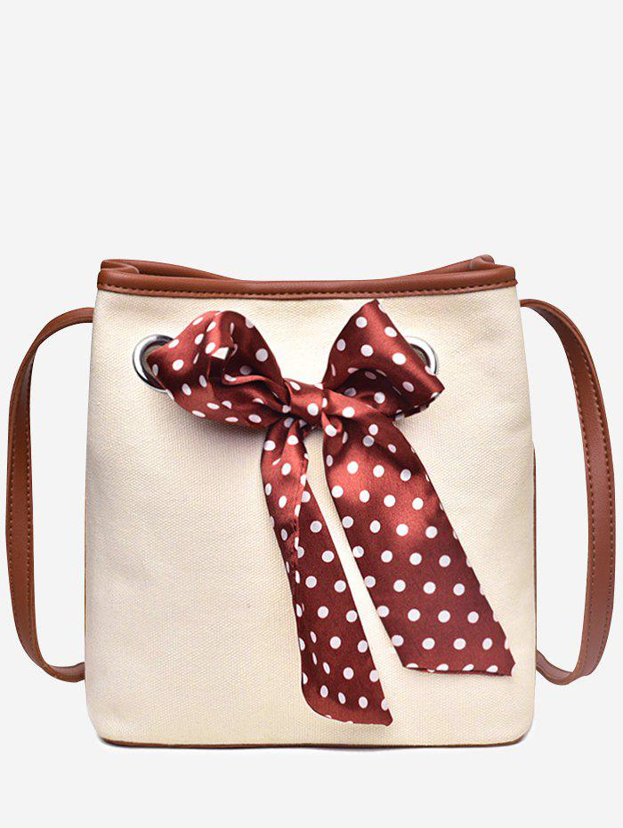 2 Pieces Polka Dot Bow Crossbody Bag Set - RED WINE