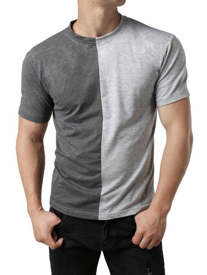 Contrast Color Patchwork Casual T-shirt - DARK GRAY M