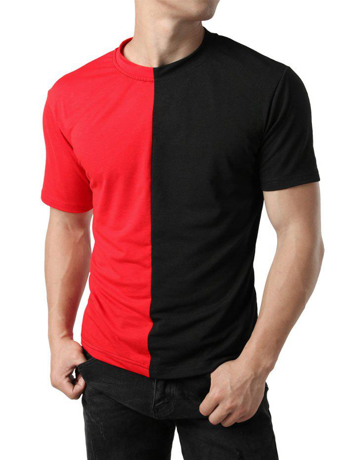 Contrast Color Patchwork Casual T-shirt - RED M