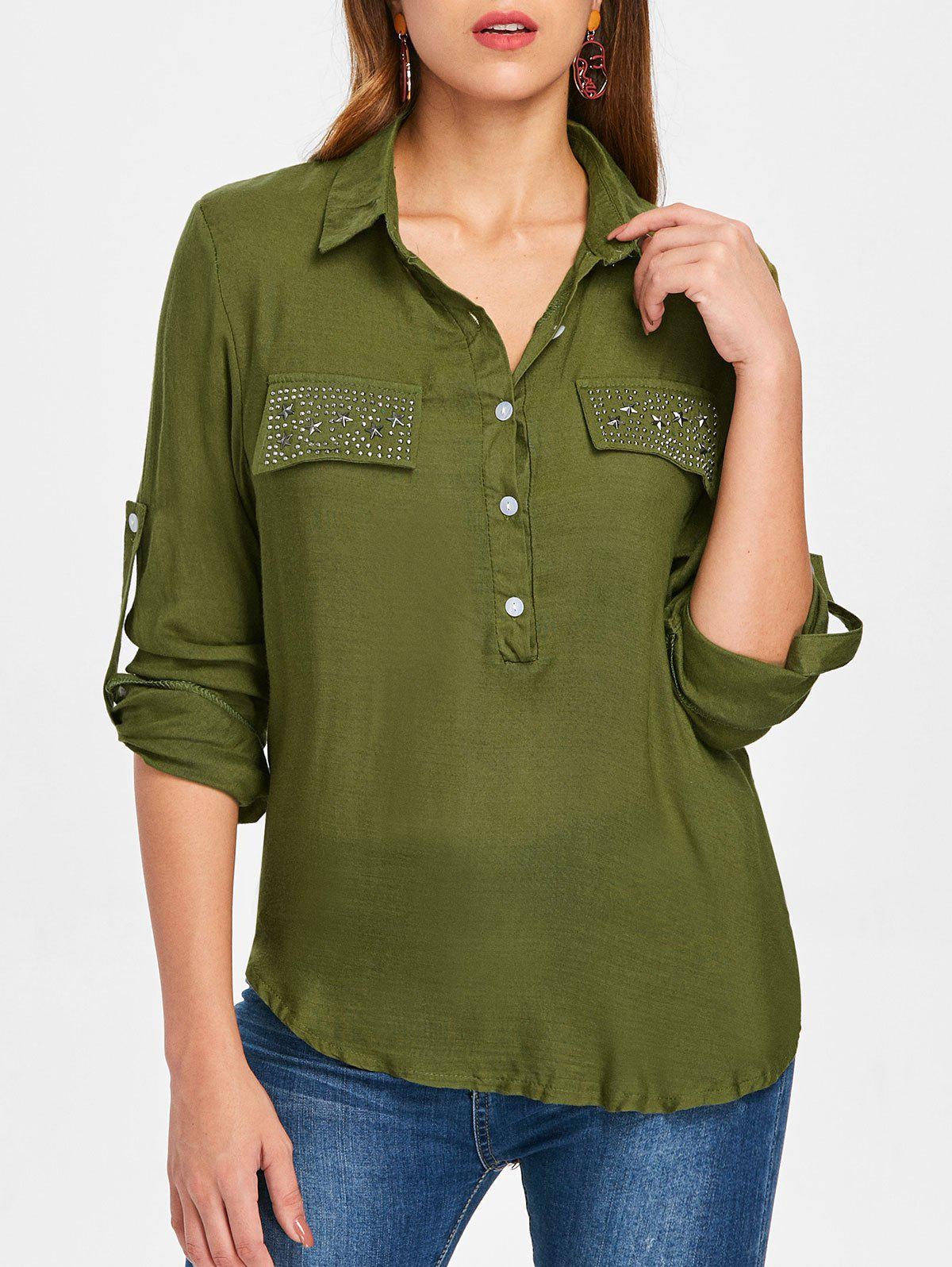 Long Sleeve Rhinestone Pockets Shirt - ARMY GREEN M