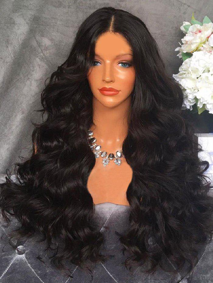 Center Parting Long Length Loose Wave Synthetic Wig - NATURAL BLACK