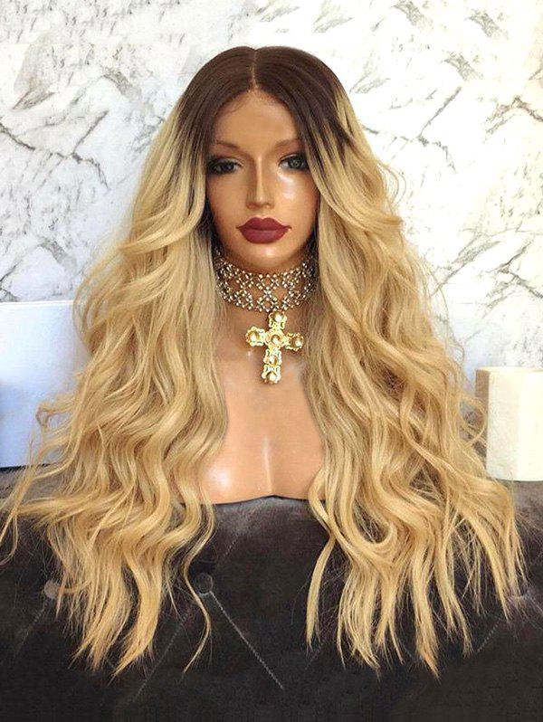 Long Middle Part Wavy Ombre Synthetic Wig - multicolor