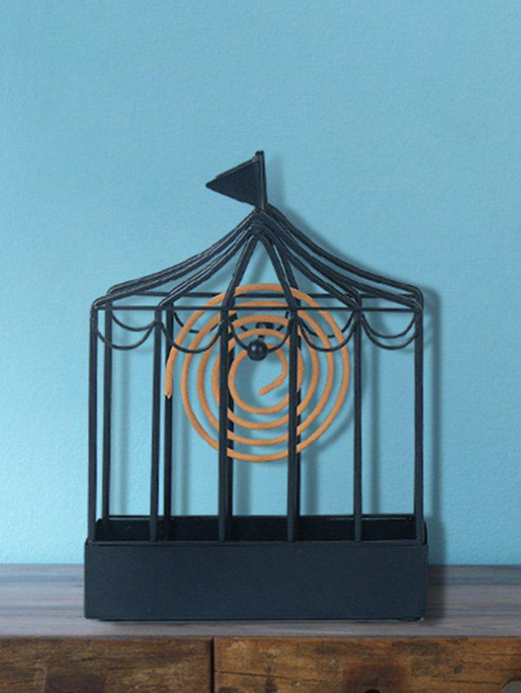 Iron Flag Cage Shape Mosquito Coil Holder - BLACK 12.5*17.5CM