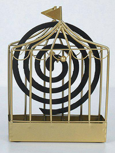 Iron Flag Cage Shape Mosquito Coil Holder - GOLD 12.5*17.5CM