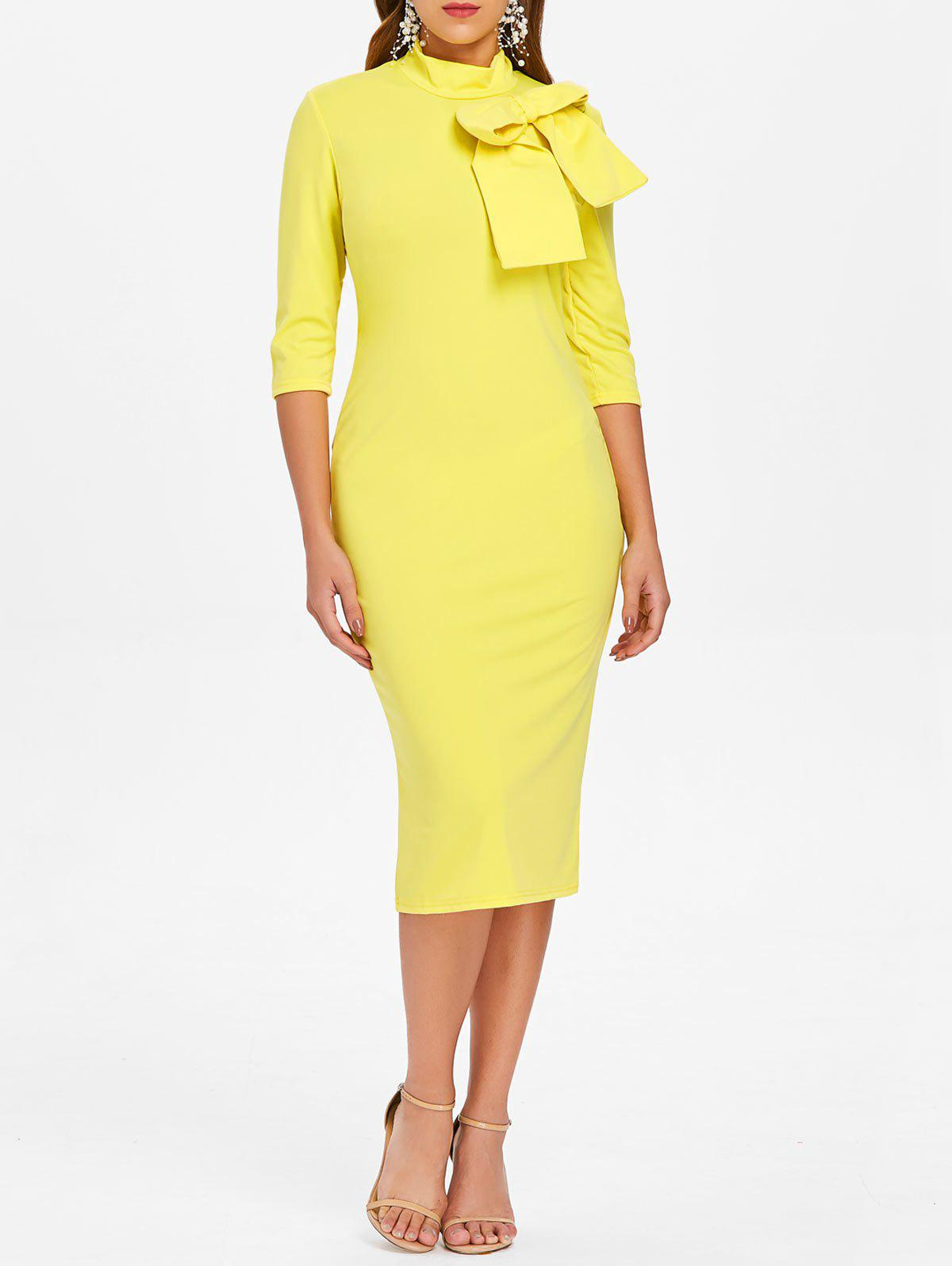 High Neck Bowknot Embellished Knee Length Dress - YELLOW 2XL
