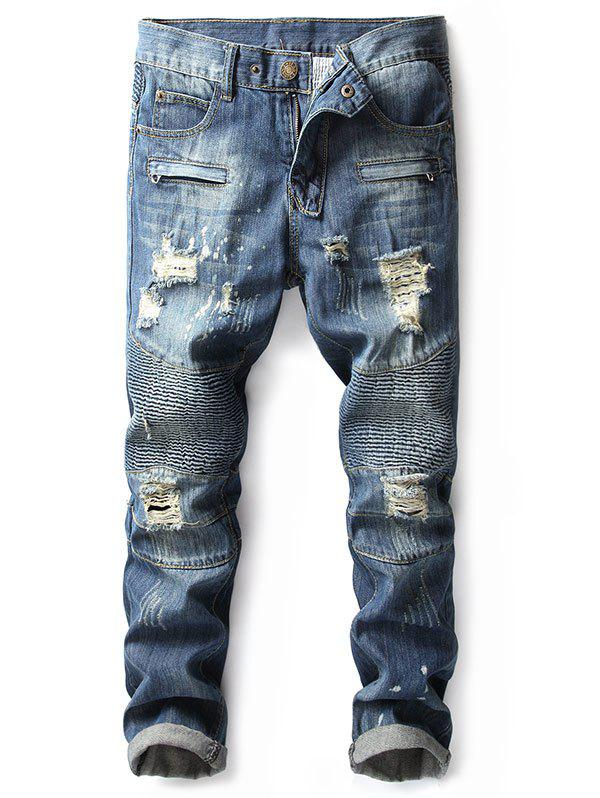Zip Embellished Faded Ripped Biker Jeans - DENIM DARK BLUE 40