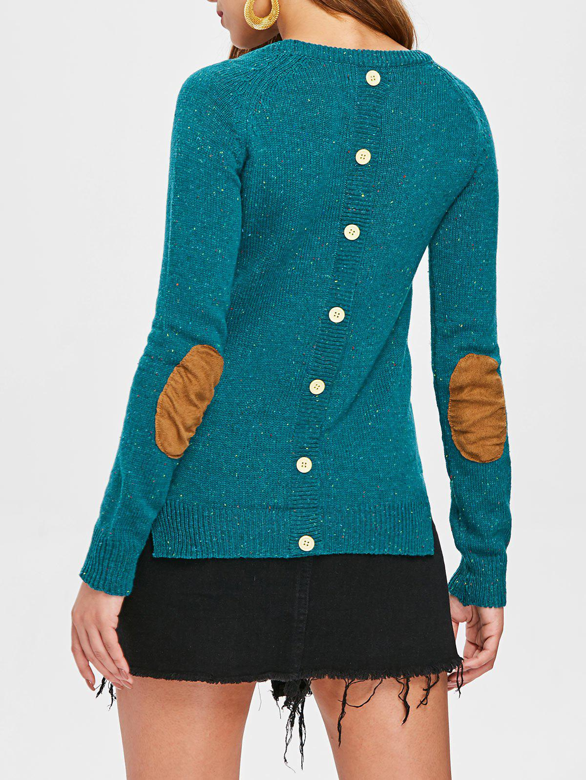 Stylish Elbow Spliced Back Buttoned Pullover Sweater For Women - GREEN M