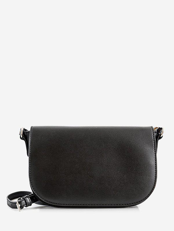 Double Straps Solid Flap Crossbody Bag - BLACK