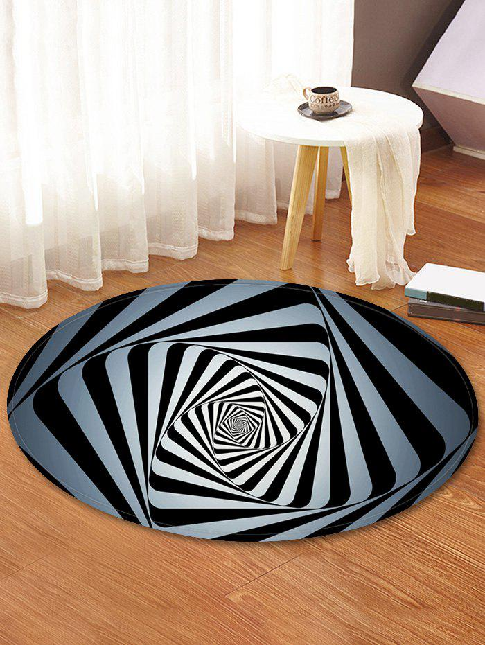 Abstract Spiral Print Absorption Round Floor Mat - multicolor 60 CM (ROUND)