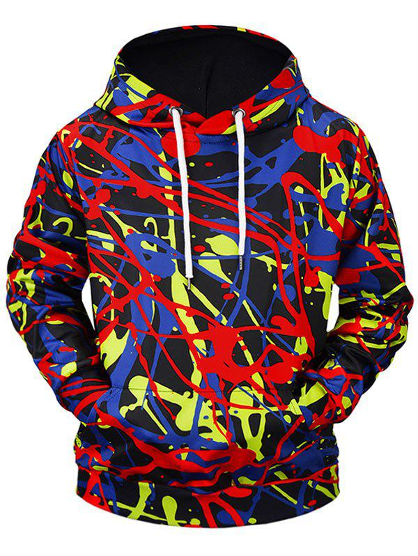 3D Graffiti Print Patch Kangaroo Pocket Hoodie