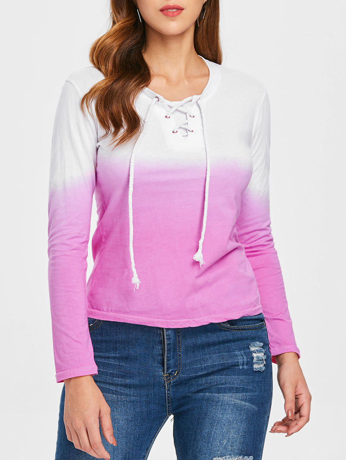 Long Sleeve Ombre T-shirt - NEON PINK XL