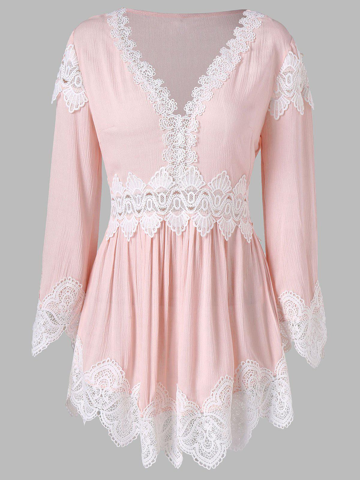 Lace Trim Long Sleeve Tunic Blouse - LIGHT PINK L