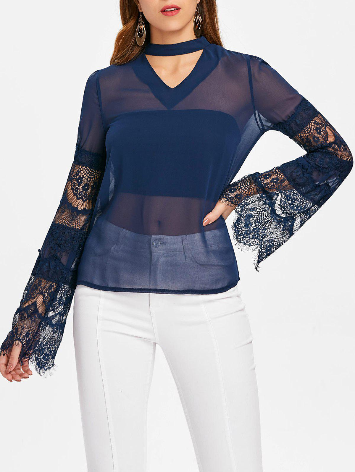 Lace Sleeve Cut Out Blouse