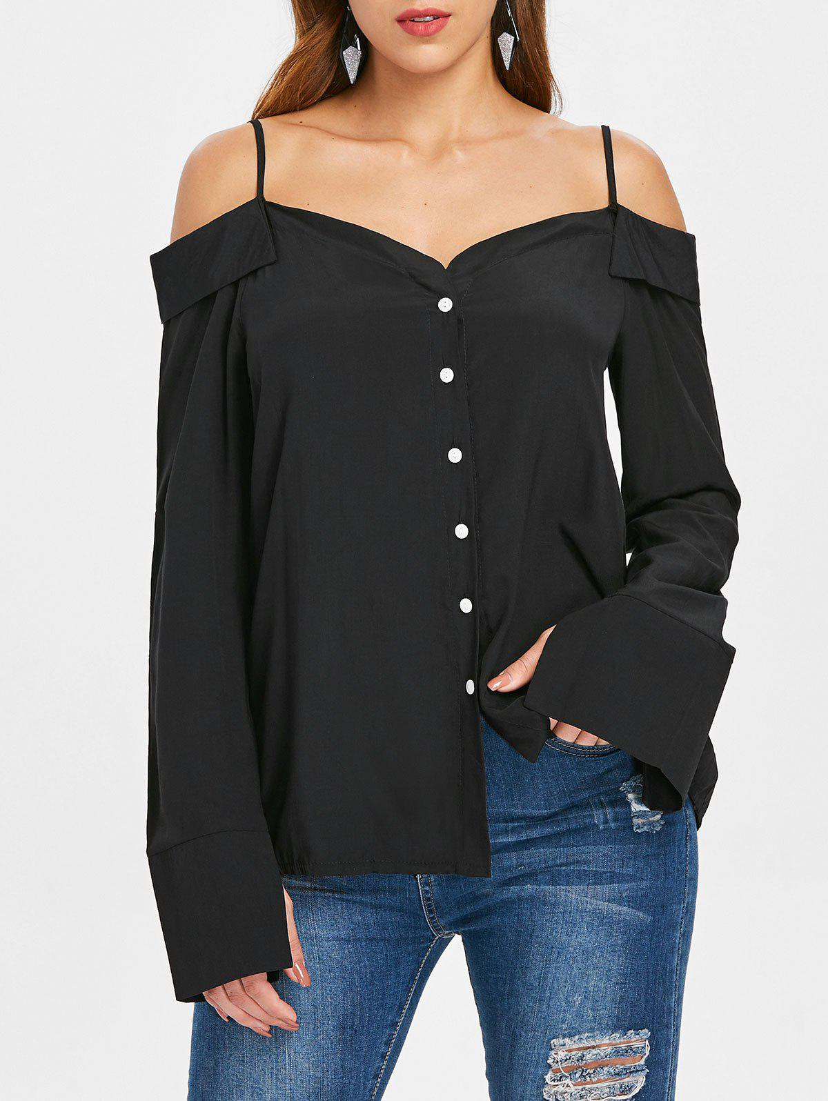 Open Shoulder Button Up Blouse - BLACK M