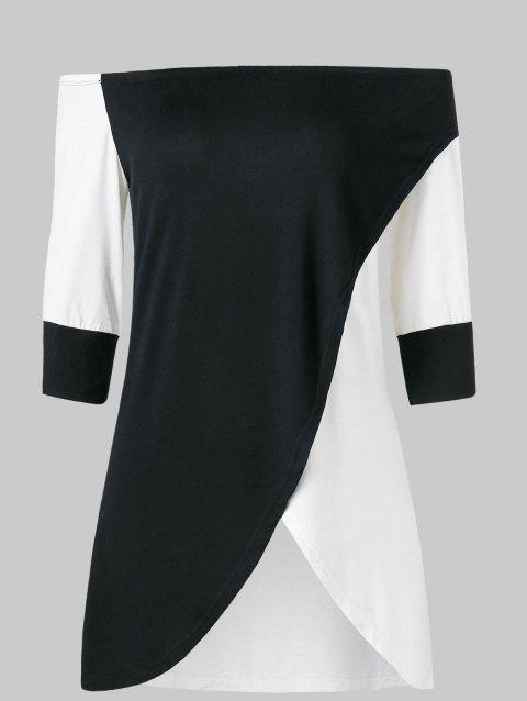 Open Shoulder Tulip Front T-shirt - BLACK XL