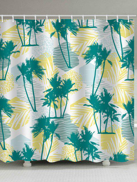 Tropical Palm Trees Print Waterproof Shower Curtain - multicolor W71 INCH * L79 INCH