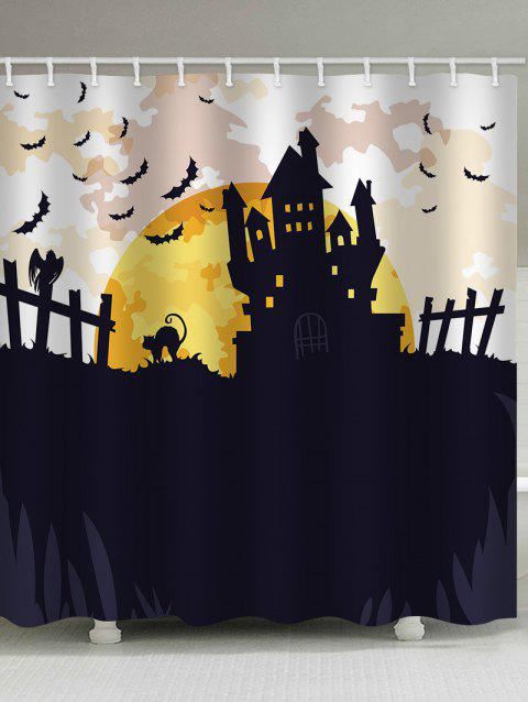 Halloween Moon Night Print Waterproof Shower Curtain - BLACK W65 INCH * L71 INCH