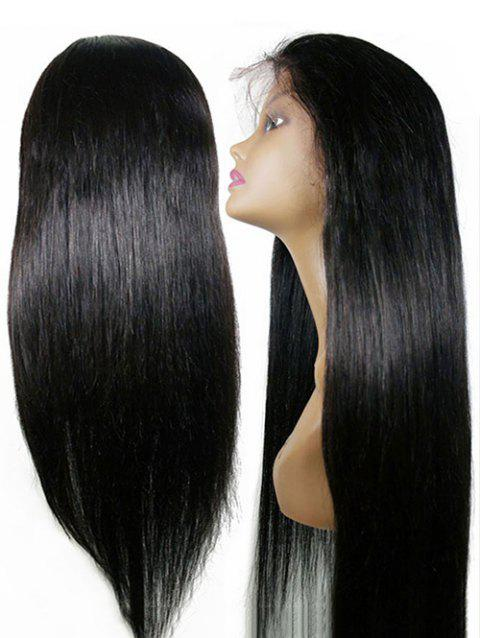 Middle Part Long Straight Party Lace Front Synthetic Wig - BLACK