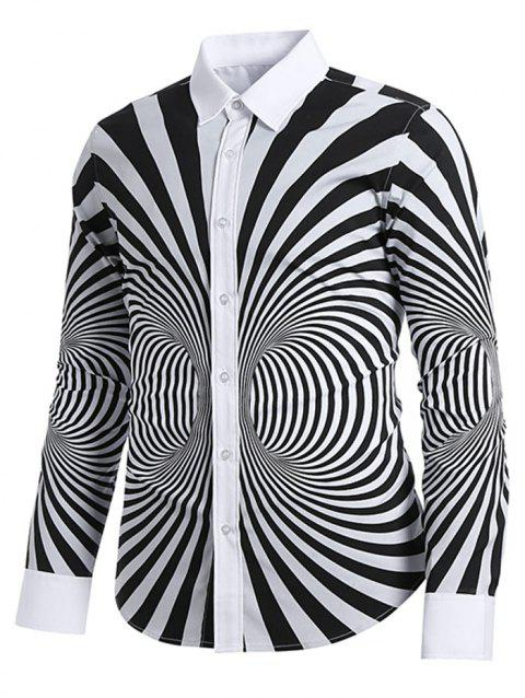 3D Zibra Swirl Pattern Back Letter Striped Casual Shirt - multicolor L