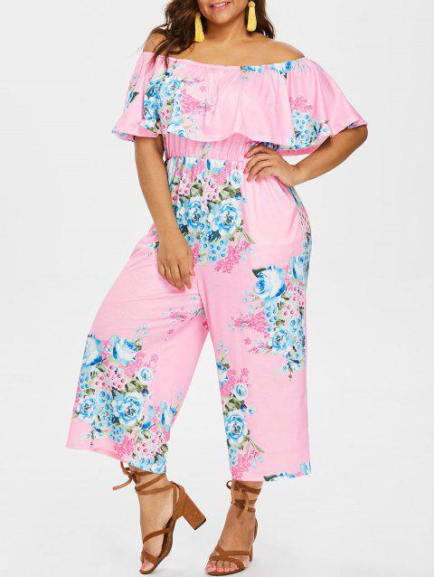 Plus Size Elastic Waist Print Jumpsuit - LIGHT PINK 3X