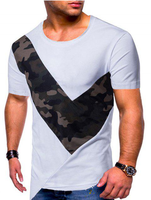 Camo Mesh Patchwork Irregular Hem T-shirt - WHITE 2XL
