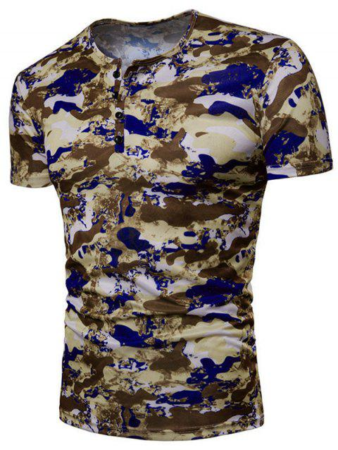 Camo 4 Buttons Decor Crew Neck Short Sleeve T-shirt - DARK KHAKI M