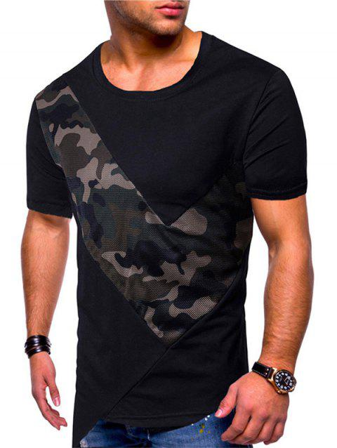 Camo Mesh Patchwork Irregular Hem T-shirt - BLACK XL