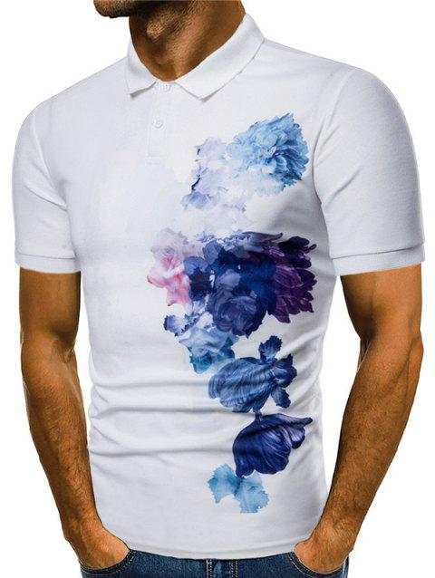 Side Flowers Painting Print Soft Polo Shirt - WHITE 2XL