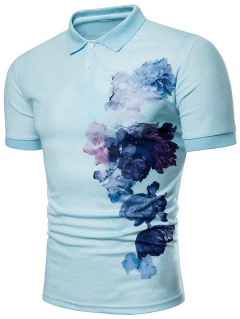 Side Flowers Painting Print Soft Polo Shirt - SKY BLUE 2XL