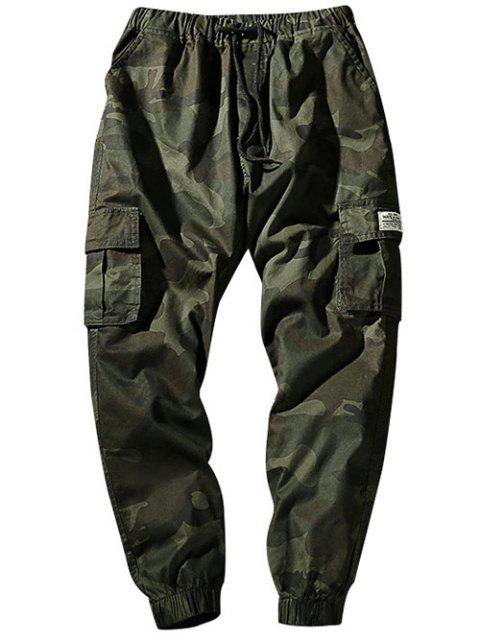 Camouflage Elastic Waist Flap Pockets Jogger Pants - ARMY GREEN XS