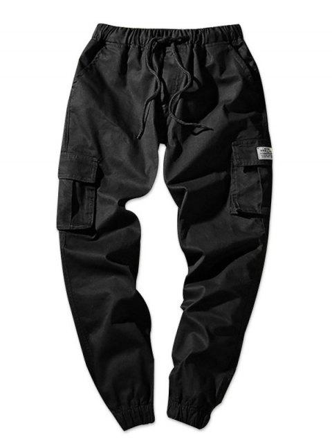 Drawstring Waist Flap Pockets Solid Color Jogger Pants - BLACK XS