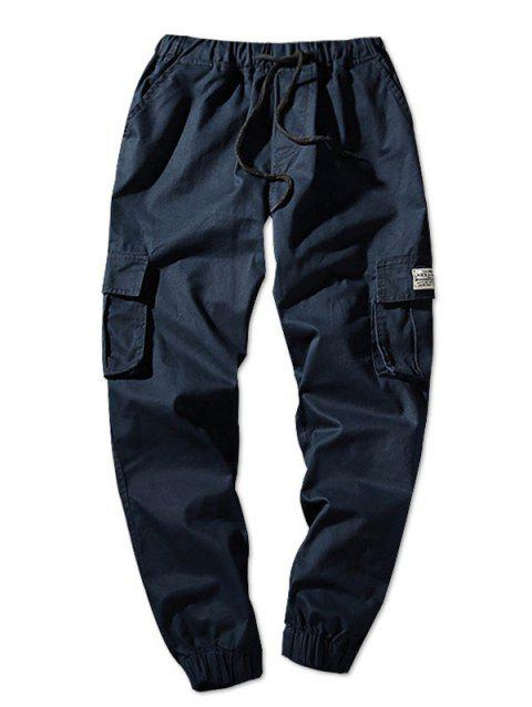 Drawstring Waist Flap Pockets Solid Color Jogger Pants - DEEP BLUE S