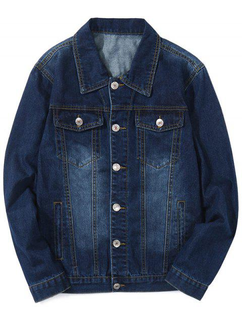 Faded Chest Pockets Turn Down Collar Jean Jacket - CADETBLUE M