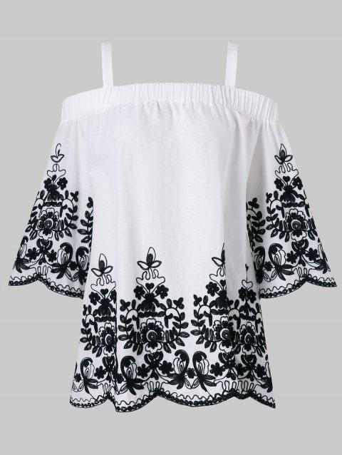 Embroidery Open Shoulder Top - WHITE L