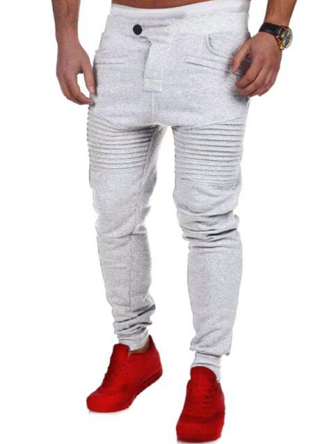 Pleated Button Fly Sport Jogger Pants - LIGHT GRAY L