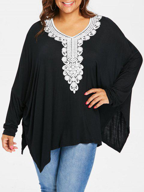 Plus Size V Neck Two Tone Top - BLACK 1X