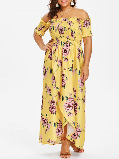 Plus Size Tulip Off Shoulder Dress - YELLOW 4X
