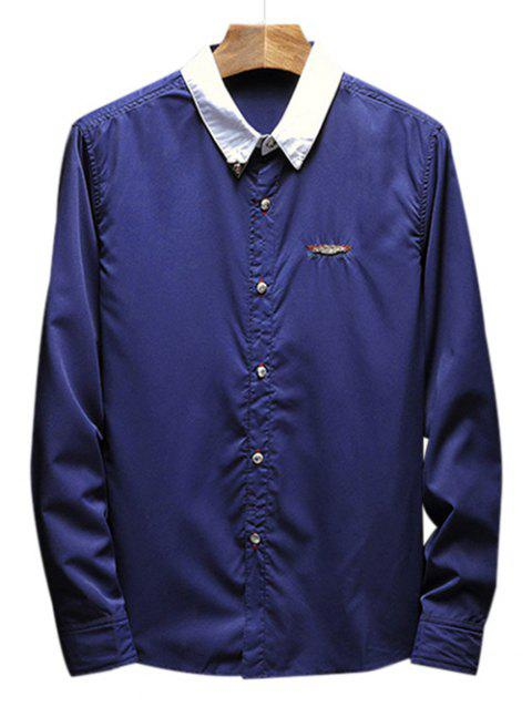 Chest Metal Embroidery Edge Contrast Shirt - DEEP BLUE XS