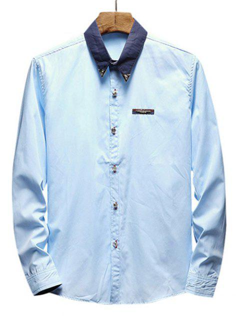 Chest Metal Embroidery Edge Contrast Shirt - LIGHT BLUE M