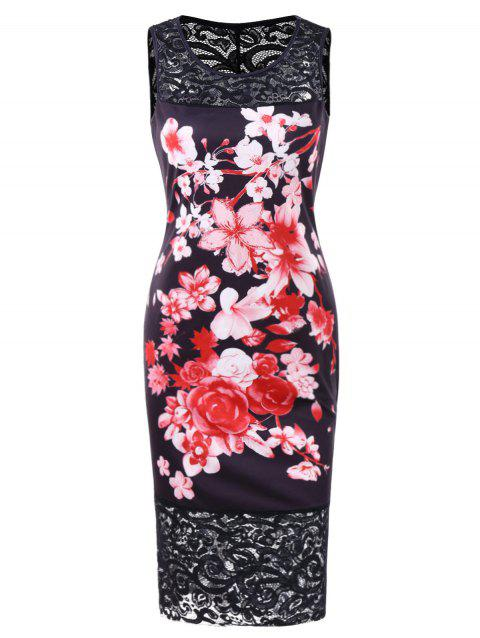Printed Lace Panel Bodycon Dress - BLACK L