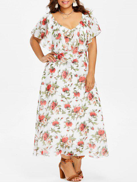 Plunge Plus Size Floral Maxi Dress - WHITE 3X
