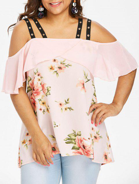 Plus Size Grommets Embellished High Low Blouse - LIGHT PINK 1X