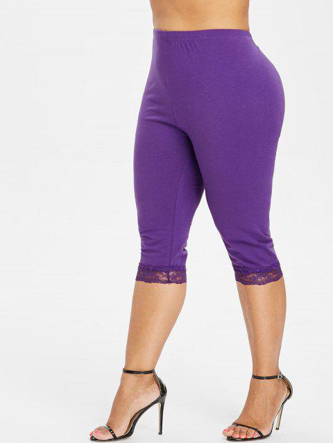 Plus Size High Waisted Lace Hem Leggings - PURPLE 2X