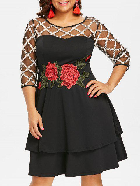 Plus Size Sheer Yoke Embroidery Tiered Dress - BLACK 2X